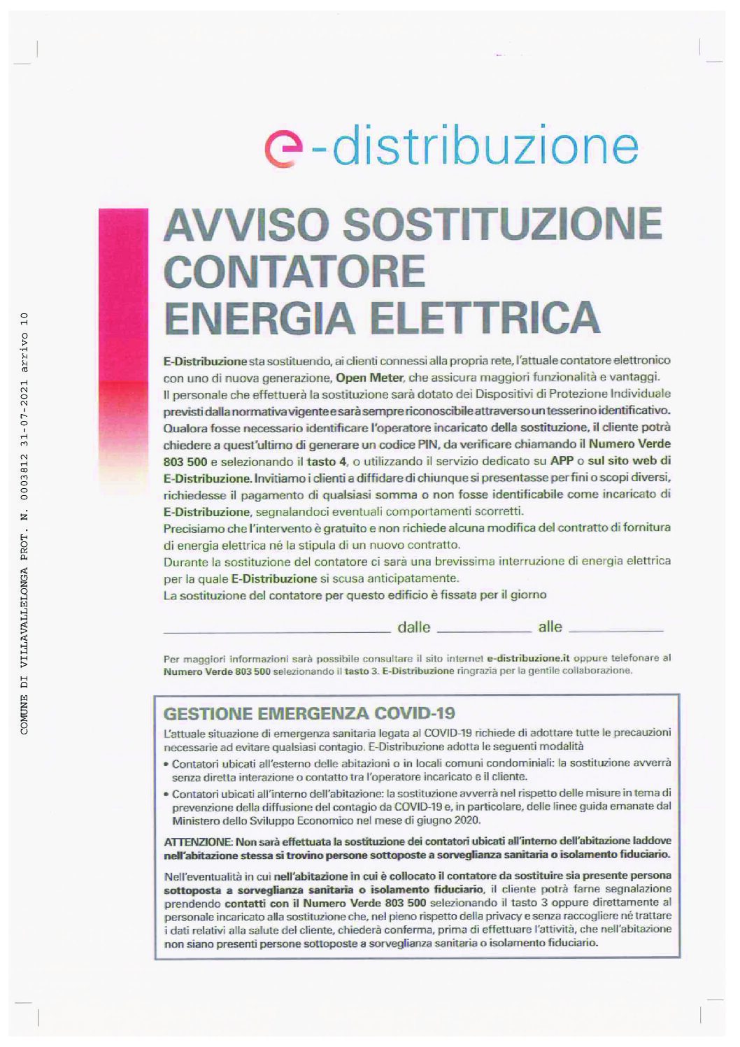 AVVISO SOSTITUZIONE CONTATORE ENERGIA ELETTRICA